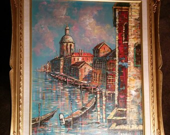 Vintage original signed oil painting of Venice by A. Hatton