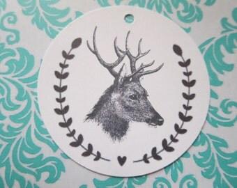 Vintage Reindeer Christmas tags - set of 6 GTXMAS 333
