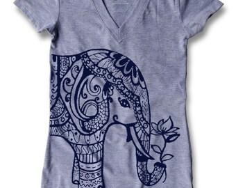 Ethnic Elephant Print Women's Fitted V - Neck T - Shirt