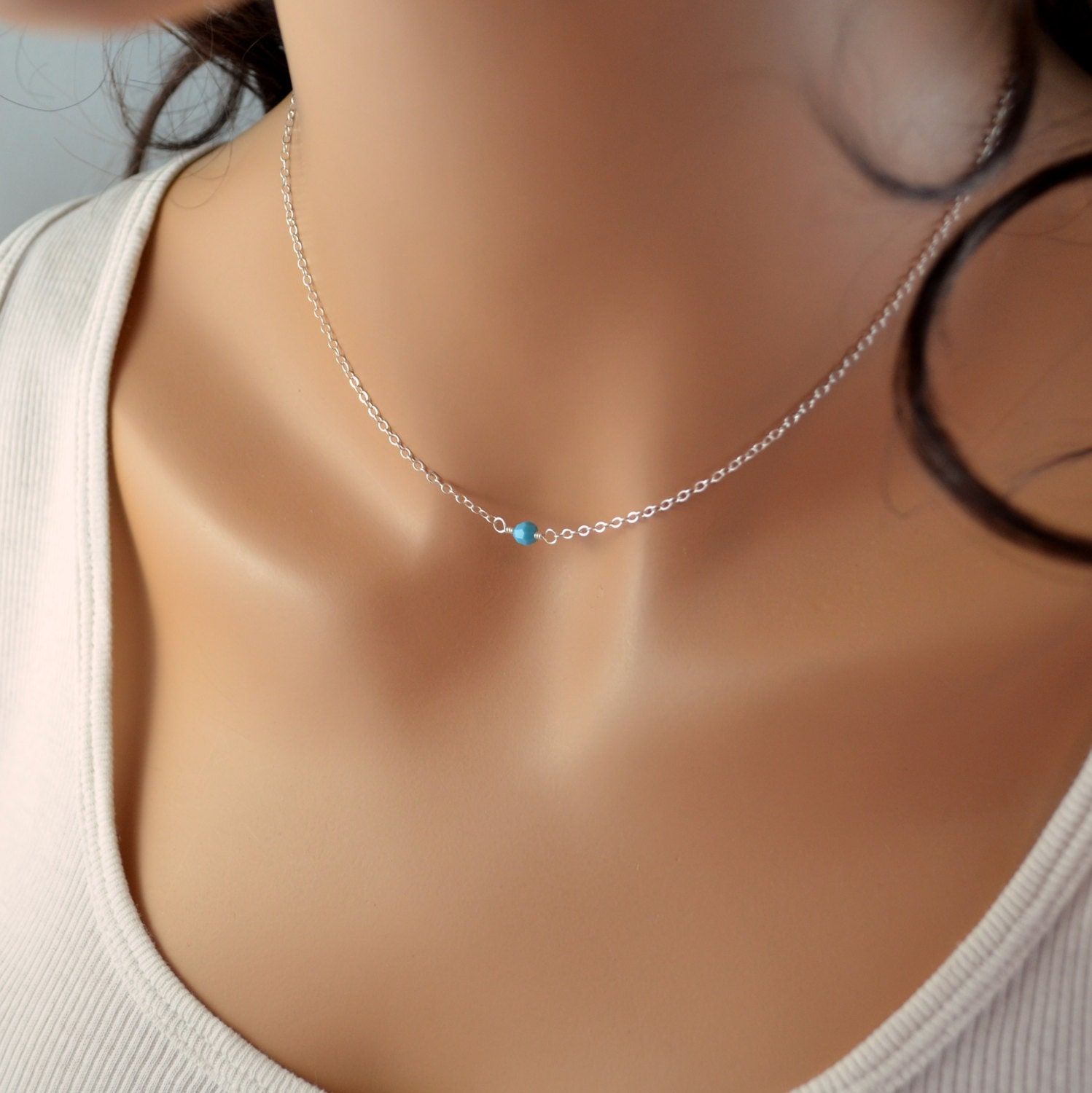 turquoise choker necklace sterling silver jewelry delicate