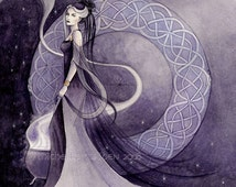 Arianrhod, signed PRINT, Celtic mythology, goddess art, witch painting, priestess, pagan art,celtic knotwork, purple faerie,myth,watercolour