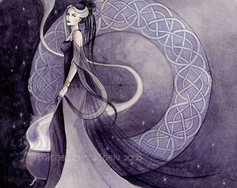 Arianrhod PRINT Celtic mythology, goddess art, witch painting, priestess, pagan art, celtic knotwork, purple faerie, mystic myth watercolour