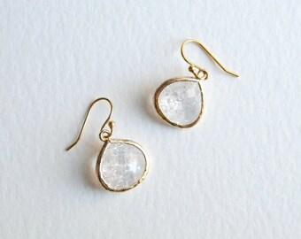 Crystal + Gold Teardrop Earrings