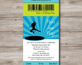 Girl's Jump Party Invitation with Editable Text, Printable Trampoline Party Invitation, Jump Themed Party Invitation, Personalize and Print