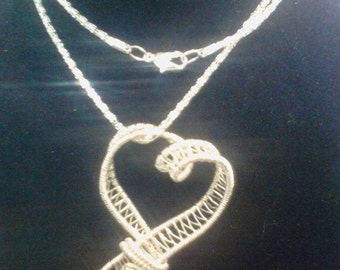 Silver Woven Heart Necklace