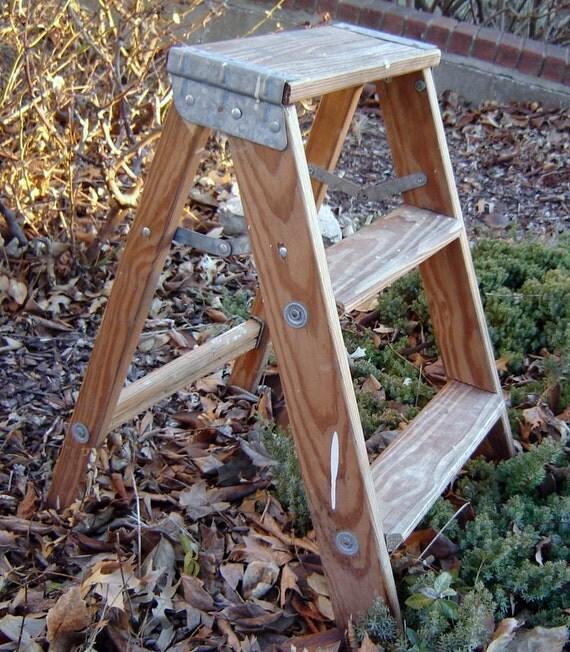 rustic ladder shelf old wooden ladder step ladder by bluberrifinds. Black Bedroom Furniture Sets. Home Design Ideas
