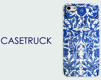 Blue Floral Tile Retro NEW iPhone 4 4S 5 5s 5c 6 6S 6+ 6 Plus Custom Case Hard Cover Plastic Rubber Silicone R61