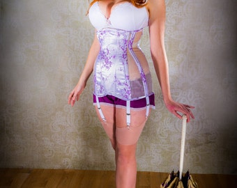 Lilac & Sheer Panelled Longline Underbust Corset with Suspenders 24 Inch
