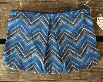 Blue Chevron zipper pleated pouch - large