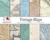 Vintage Maps Digital Papers #2 - 10 pages of scrapbooking backgrounds, photography backdrop, travel journal Instant Download 8058