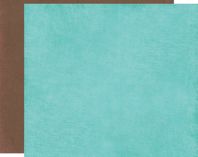 2 Sheets of Carta Bella Paper COOL SUMMER 12x12 Textured Scrapbook Cardstock - Ocean Aqua / Brown Stone