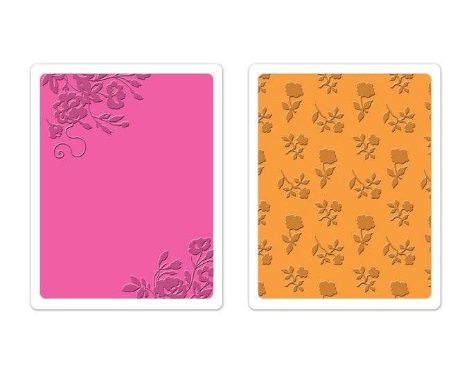 New! Brenda Walton Sizzix Textured Impressions Embossing Folders 2PK - Border Blooms & Garden Roses Set 659625