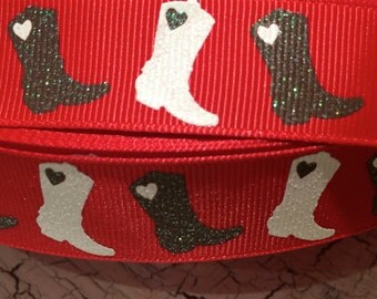 """7/8"""" Glitter COWGIRL Western Boots Horse Grosgrain on RED Ribbon sold by the yard"""