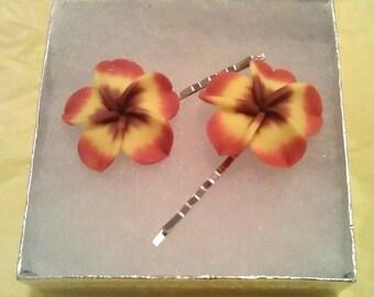 Shades of Autumn Plumeria Bobby Pin Set