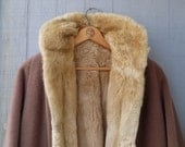 Vintage Blonde Sheared Beaver Fur Lined Wool Coat - Long Dolman Sleeve Overcoat with Fur Lining