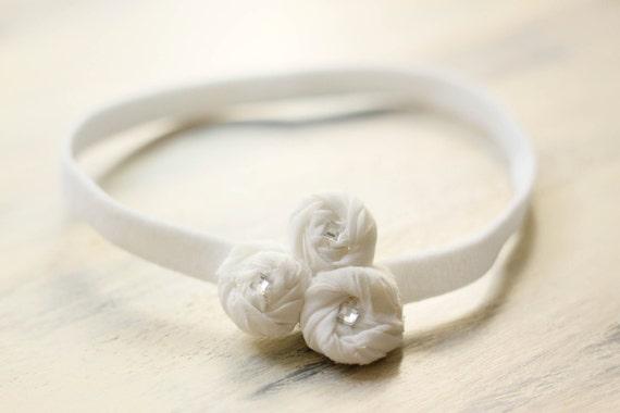 White Rosettes Baby Headband