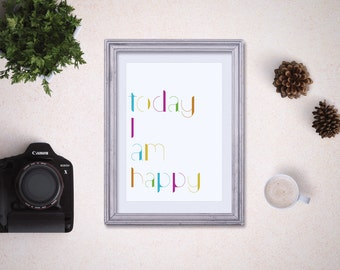 Happy Quote 8x10, Happiness Quote, Printable Quote, Be Thankful, Happy Printable, DIY, Typography Art Print, Inspirational, Motivational