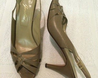 Vintage Garolini Italy genuine leather high heel sandals peep toe slingback pumps shoes 9 N  VLV