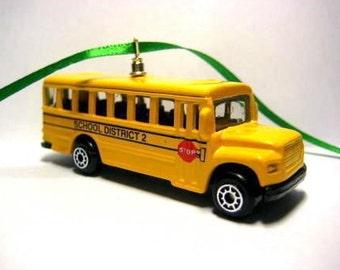 Yellow School Bus Transport Truck Car Christmas Tree Ornament