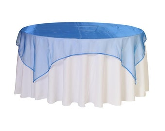 72 inch Square Organza Table Overlay Royal Blue   Wedding Table Overlays