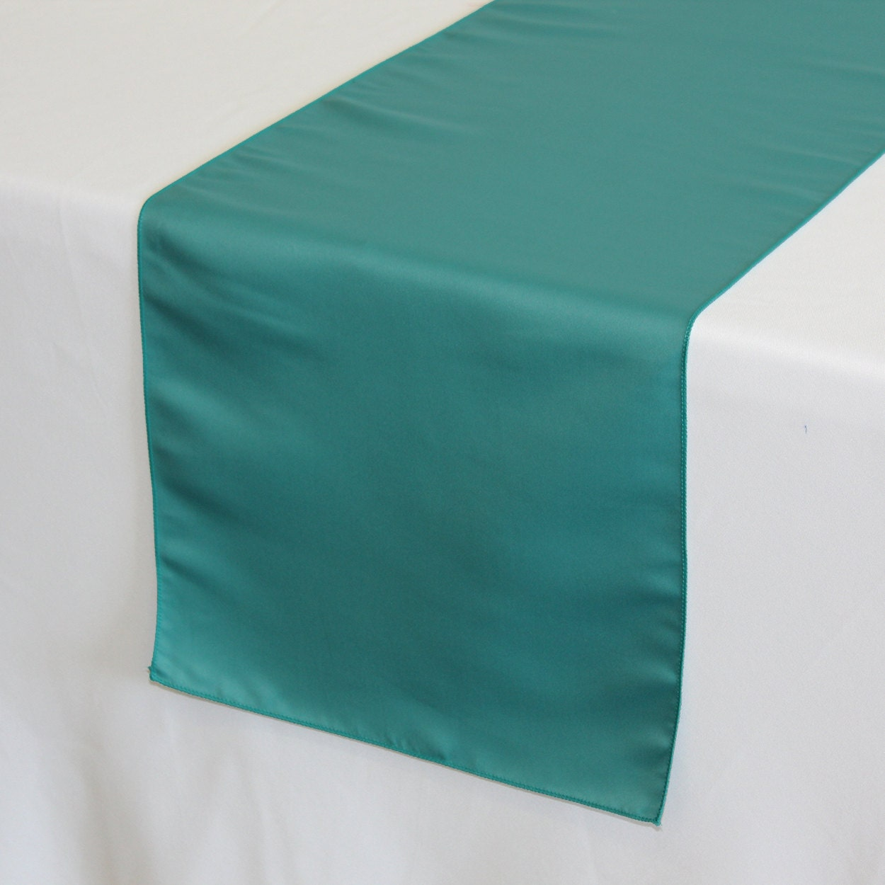 Teal lamour satin table runner wedding table by for Table runner