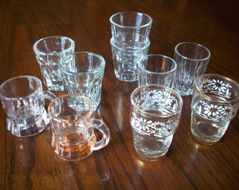 Shot Glass Destash, Vintage Collection of 10 Shot Glasses