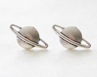 Saturn Studs / Cosmos Earrings / Silver Saturn Earrings / Planet Earrings