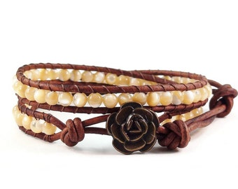 Leather Wrap Bracelet Natural Shell Rose Button Beaded Jewelry