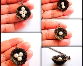 1,2,3,4, White swarovski pearl silver birds nest necklace,birds nest,nest necklace custom,swarovski pearl birthstone bird nest pendant