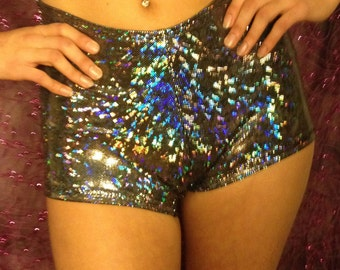 Silver Holographic Hi-Waisted Booty Shorts