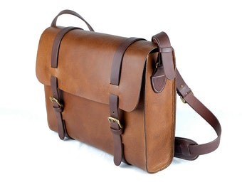 SINGAPORE - Leather Messenger bag / Leather satchel messenger / Leather laptop bag messenger / Briefcase leather bag