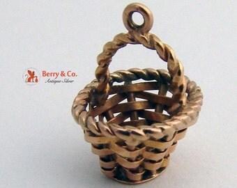 Miniature Gold Basket Charm 18K Gold Vintage 1940s