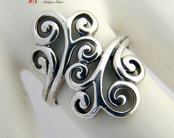 Ornate Scroll Ring Sterling Silver