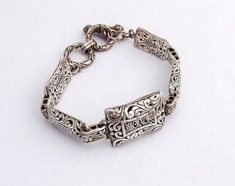 Ornate Open Work Bracelet Sterling Silver