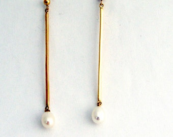 Pearl Dangle Earrings 14k Gold
