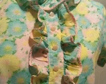 60's Pastel Flowered Mini Dress