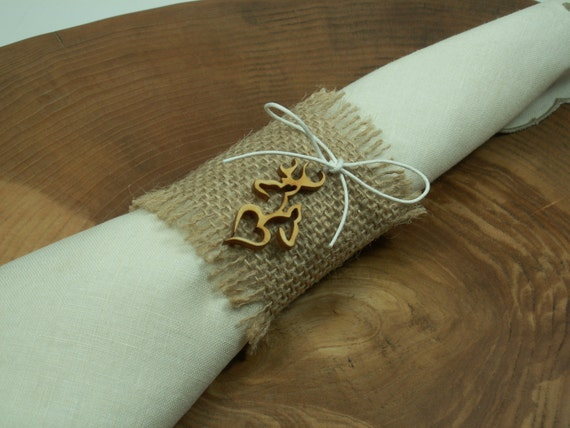 Style Rustic 12 Burlap Napkin Rings with deer style,Twine Wedding ...