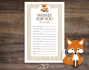 Instant Download Orange Fox Baby Shower Wishes for Baby Game Cards, Printable Fox Wish for Baby, Orange Brown Fox Theme Baby Shower Game 65C