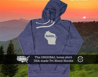 Tri Blend Pull Over Hoodie Wisconsin Home Sweatshirt