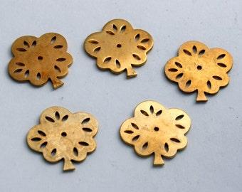 5 Vintage Brass Findings - Leaf, Tree or Flower Shaped Raw Brass