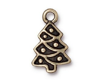 5 TierraCast Christmas Tree Charms - Brass Ox Plated Pewter - 20 mm x 12 mm