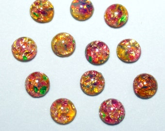 12 Round Vintage Glass Fire Opal Cabochons - 7 mm Cabochons