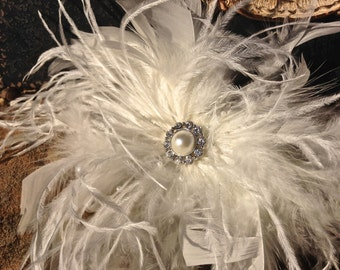 Bachelorette Party, Hen Party White Feather Fascinator Headpiece - Wedding Fascinator
