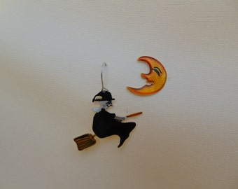 witch and the moon ,handmade fairytale sterling silver earrings