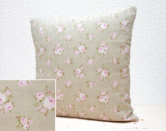 "Handmade 16""x16"" Cotton Cushion Pillow Cover in Tilda Delicate Pastel Pink Roses Design Print"