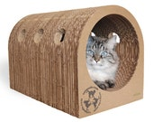 Original Catpods - cat house tunnel scratcher, cardboard furniture that lasts, eco-friendly & modern pet bed, unique gift for animal lovers