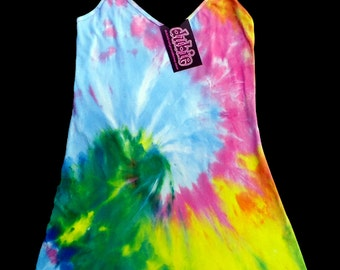 Pastel Spiral Tie Dye Chemise Mini Dress American Apparel