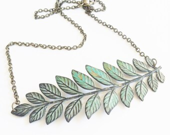 Leaf Necklace, Branch Necklace, Leaf Branch Necklace, Woodland Jewelry, Rustic Necklace, Patina Necklace