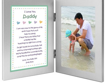 """New Dad Personalized Birthday or Valentine's Day Gift - Daddy Gift From Daughter """"Baby Girl"""" - Double Frame with Poem - Add Photo"""