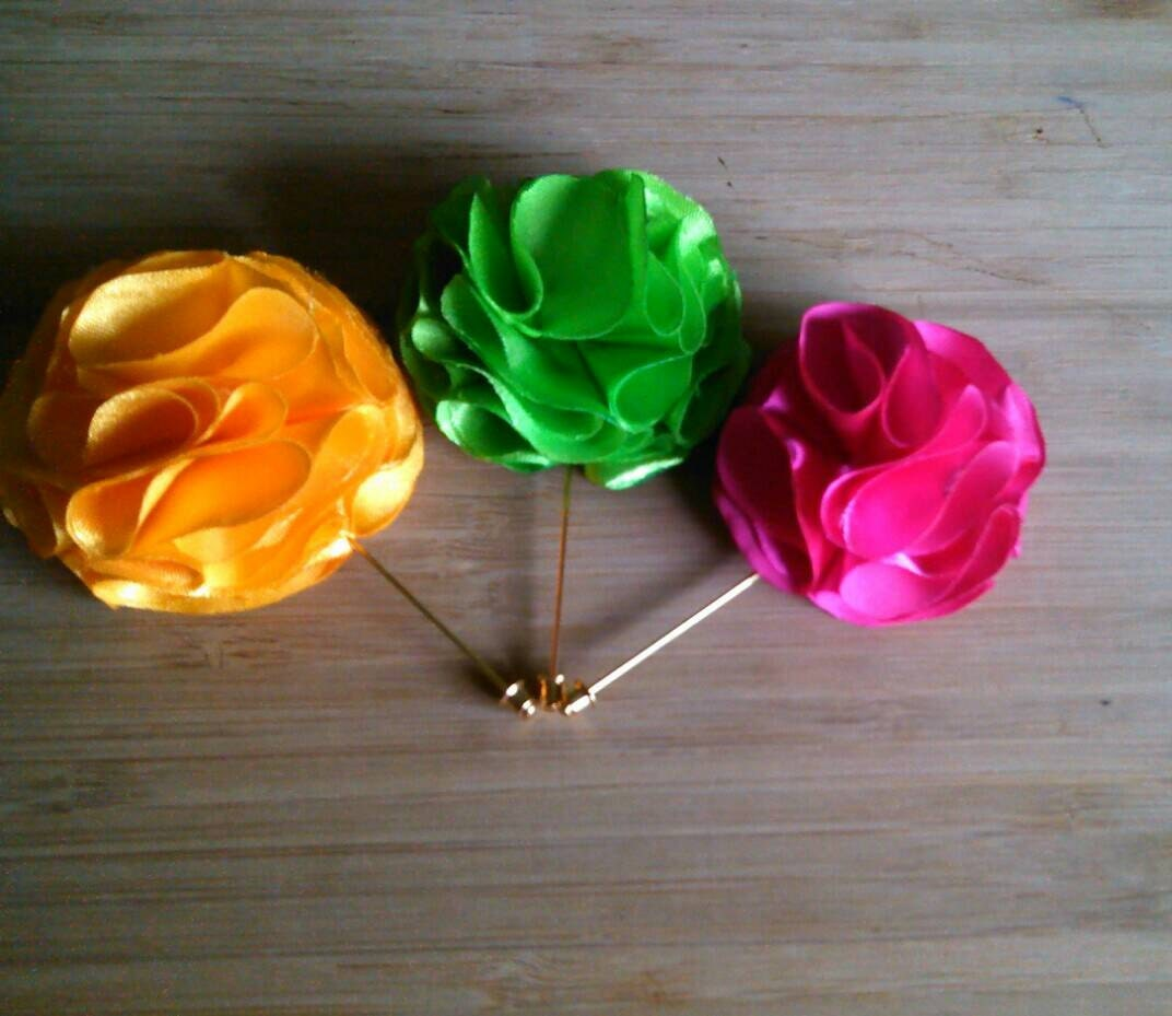 Lapel Pins or Flowers for Men women or children Pink Yellow or